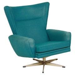 Danish Modern Highback Swivel Chair in Teal Wool