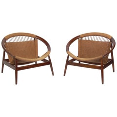 Danish Modern Hoop Lounge Chairs by Illum Wikkelso