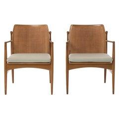 Danish Modern Ib Kofod-Larsen Lounge Chairs with Woven Backs