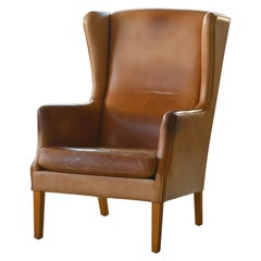 Danish Modern Kaare Klint Style Wingback Chair in Tan Leather with Patina