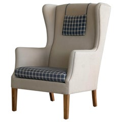 Danish Modern Kaare Klint Style Wingback Chair in Wool, circa 1960s