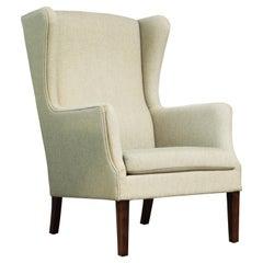 Danish Modern Kaare Klint Style Wingback Chair in Wool, circa 1960s