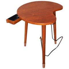 Danish Modern Kidney Teak Side Table Oak Tripod Base Book Rack & Cigar Ashtray