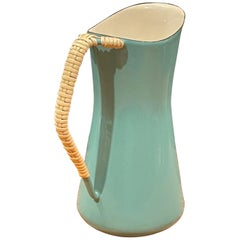 Danish Modern Kobenstyle Enamel and Cane Pitcher by Jens Quistgaard for Dansk