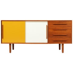 Danish Modern Lacquered and Teak Credenza