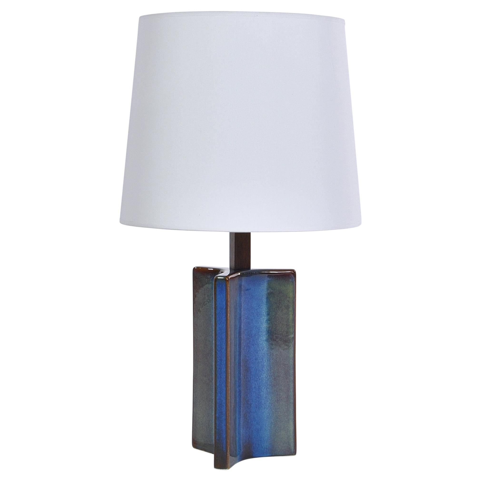 Danish Modern Large Blue Table Lamp from Søholm Stoneware, 1960s