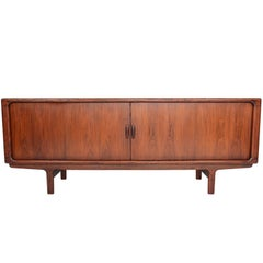 Danish Modern Large Rosewood Tambour Credenza