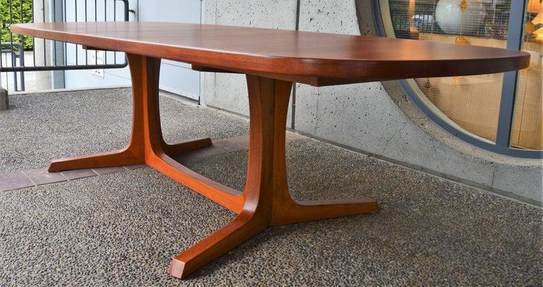 Danish Modern Large Teak 1960s Oval Two Leaf Dining Table