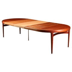 Danish Modern Large Teak Three Leaf Dining Table by Johannes Andersen for Uldum