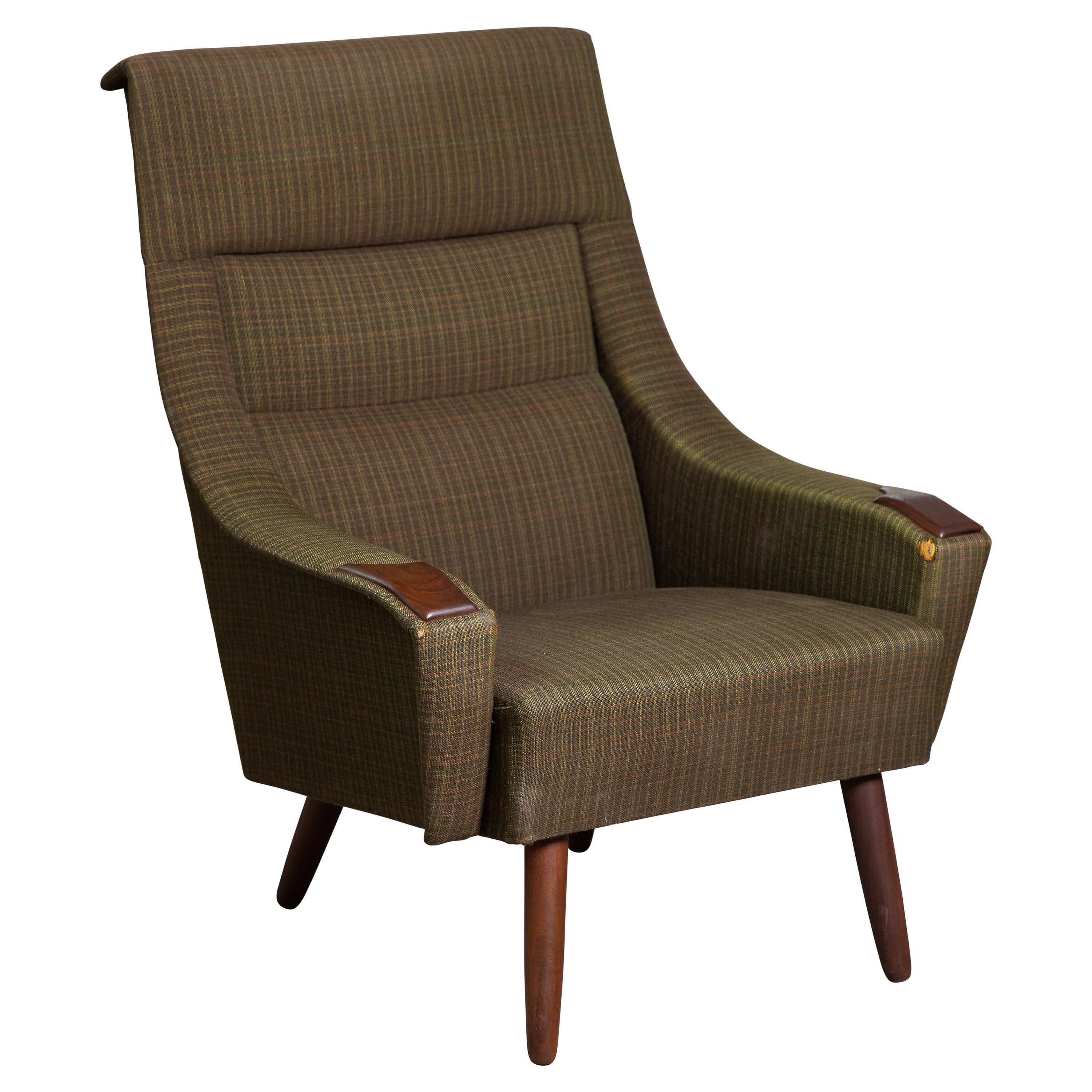 Danish Modern Late 1950's Lounge Chair with Teak Accent on Armrests