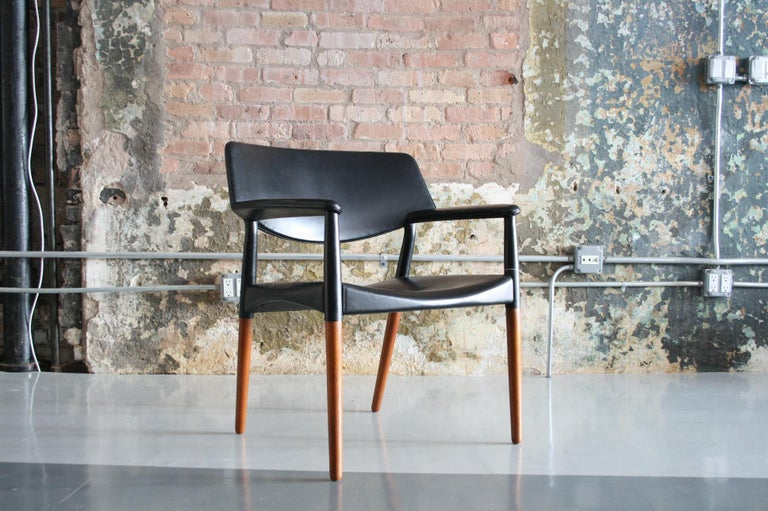 Leather armchair by Aksel Bender Madsen & Ejner Larsen for Willy Beck Denmark. Black leather and teak in fabulous original condition!