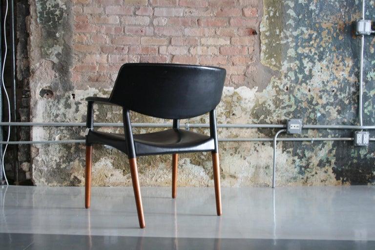 Scandinavian Modern Danish Modern Leather Armchair by Aksel Bender Madsen & Ejner Larsen For Sale
