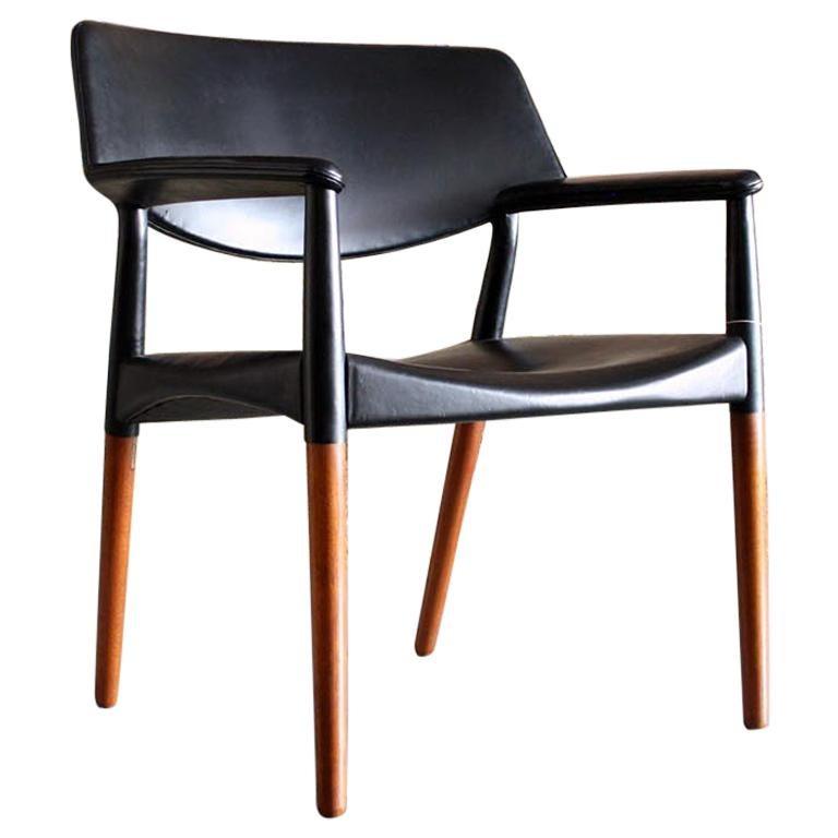 Danish Modern Leather Armchair by Aksel Bender Madsen & Ejner Larsen For Sale