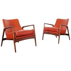 Danish Modern Leather Lounge Chairs by Ib Kofod-Larsen