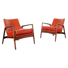Danish Modern Leather Lounge Chairs by Ib Kofod-Larsen