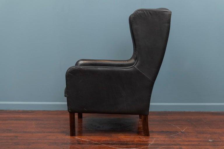 Scandinavian Modern Danish Modern Leather Wingback Chair For Sale