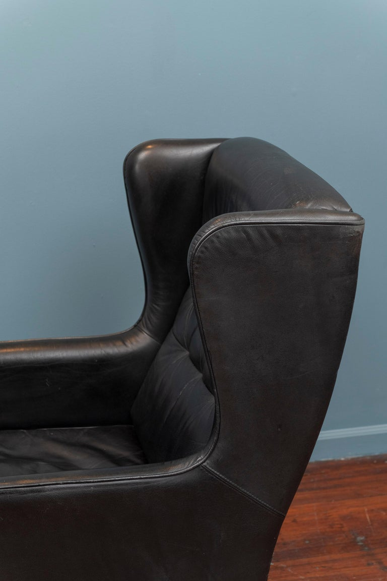 Danish Modern Leather Wingback Chair In Good Condition For Sale In San Francisco, CA