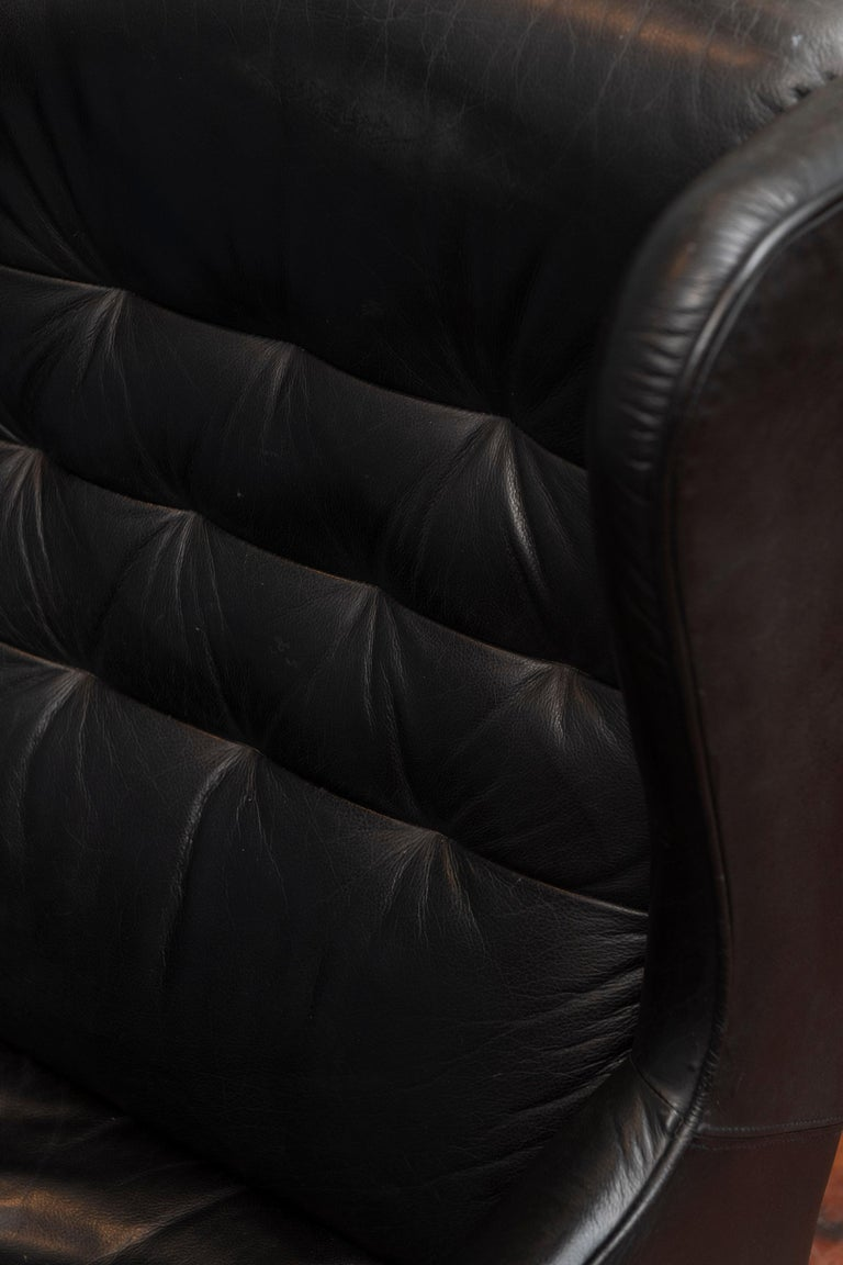 Mid-20th Century Danish Modern Leather Wingback Chair For Sale