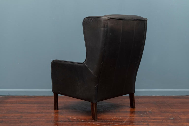 Danish Modern Leather Wingback Chair For Sale 1
