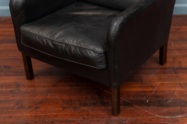 Danish Modern Leather Wingback Chair For Sale 2