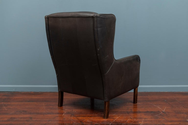 Danish Modern Leather Wingback Chair For Sale 3
