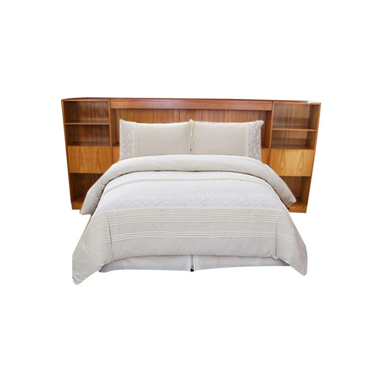 Danish Modern Lighted Teak Headboard with Integral Storage Nightstands For Sale 5