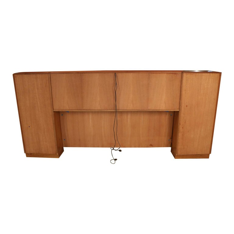 Danish Modern Lighted Teak Headboard with Integral Storage Nightstands For Sale 4