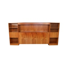 Danish Modern Lighted Teak Headboard with Integral Storage Nightstands