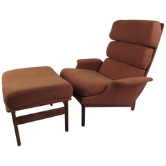 Danish Modern Lounge Chair and Ottoan