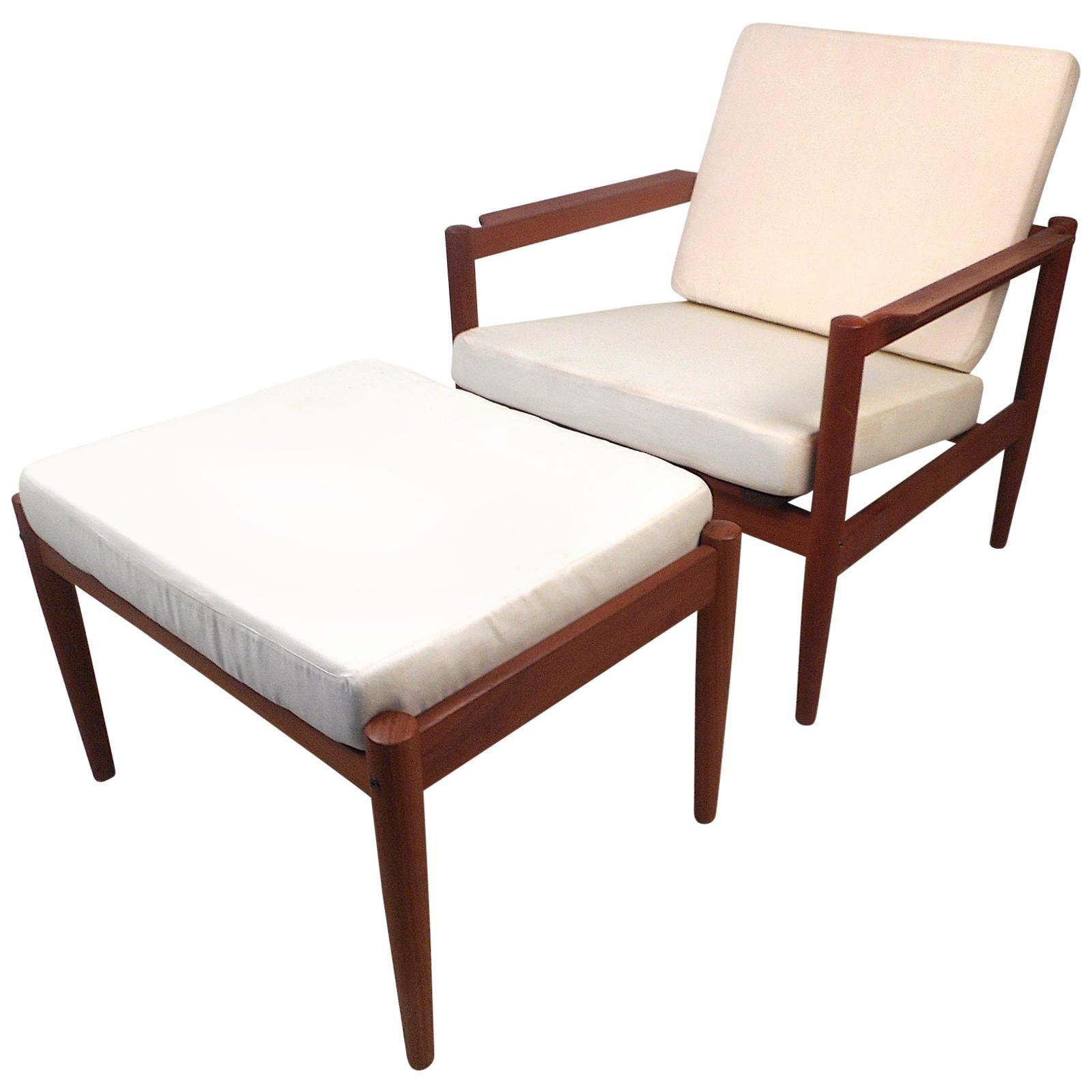 Danish Modern Lounge Chair and Ottoman by Bernstorffsminde Møbelfabrik