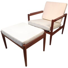 Danish Modern Lounge Chair and Ottoman by Bernstorffsminde Møbelfabrik
