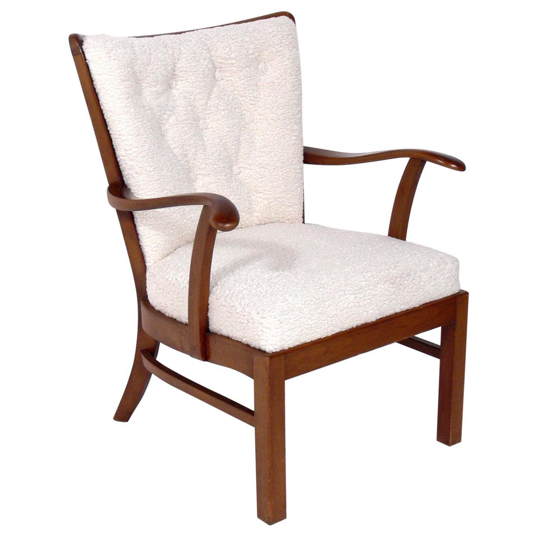 Danish Modern Lounge Chair by Fritz Hansen in Faux Sheepskin