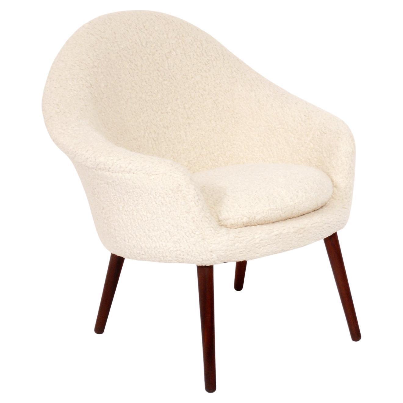 Danish Modern Lounge Chair by iHans Olsen n Faux Sheepskin