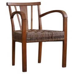 Danish Modern Lounge Chair in Beech and Papercord, in Style of Frits Schlegel