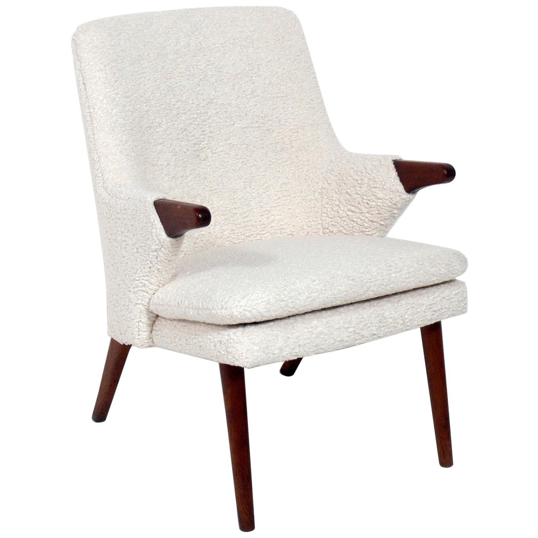 Danish Modern Lounge Chair in Faux Sheepskin
