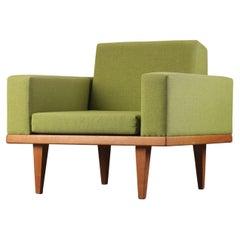 Danish Modern Lounge Chair in Oak and Green Wool