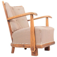 Danish Modern Lounge Chair in Oak by Fritz Hansen, 1940s