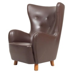 Danish Modern Lounge Chair in Patinated Saddle Brown Leather, 1940s