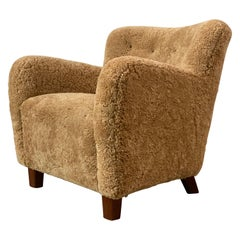 Danish Modern Lounge Chair, Stained Beech, Beige Sheepskin, 1940s
