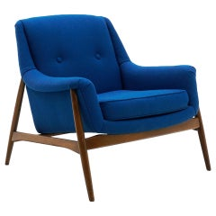 Danish Modern Lounge Chair with Arms, Teak with New Blue Maharam Upholstery