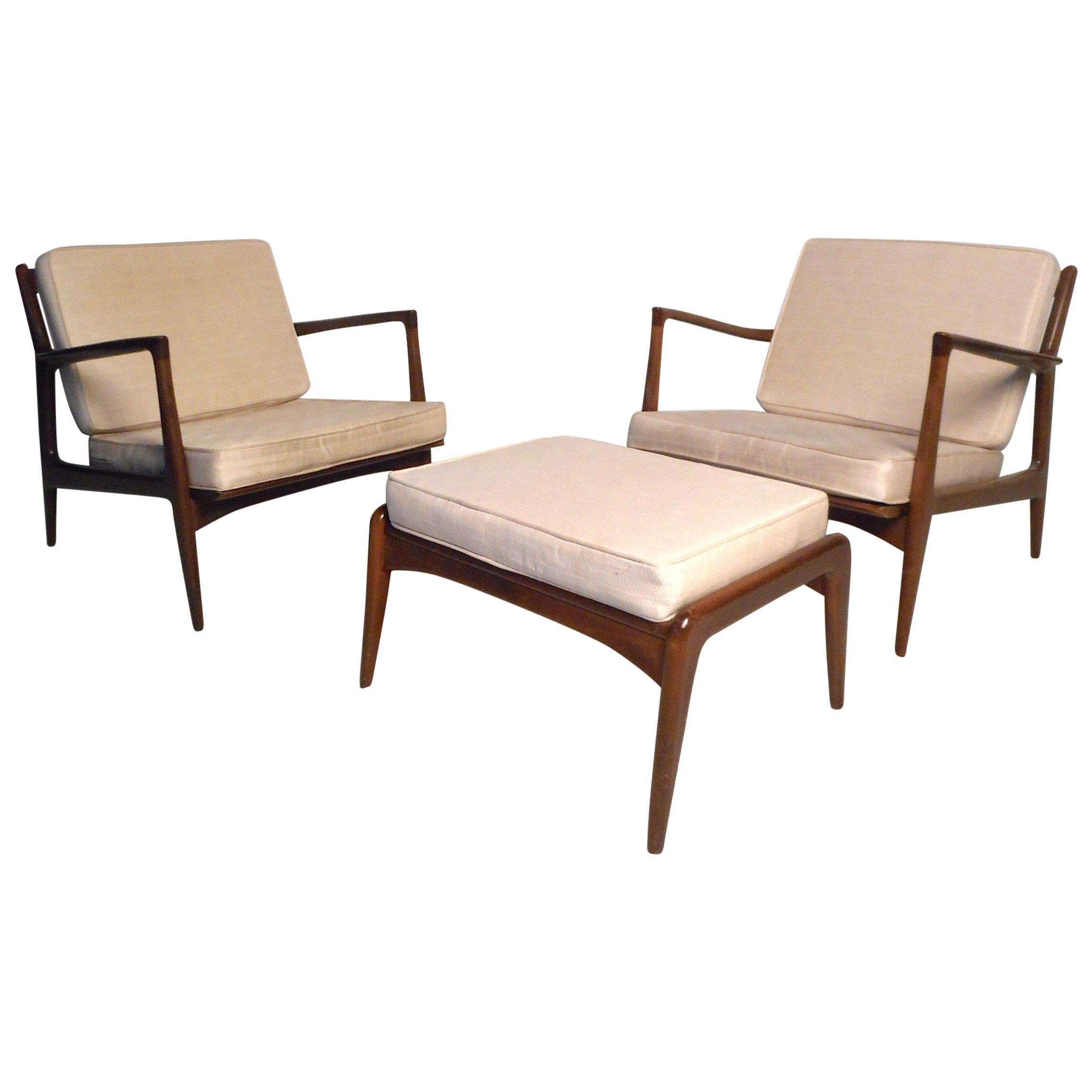 Danish Modern Lounge Chairs and Ottoman by Kofod-Larsen