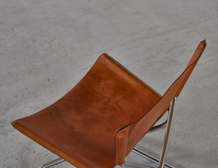 Danish Modern Lounge Chairs in Saddle Leather and Steel by Erik Magnussen For Sale 5
