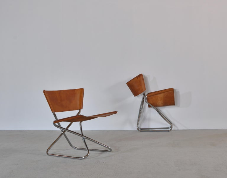 Danish Modern Lounge Chairs in Saddle Leather and Steel by Erik Magnussen For Sale 9