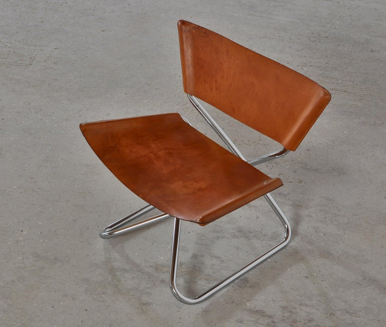 Danish Modern Lounge Chairs in Saddle Leather and Steel by Erik Magnussen In Good Condition For Sale In Odense, DK