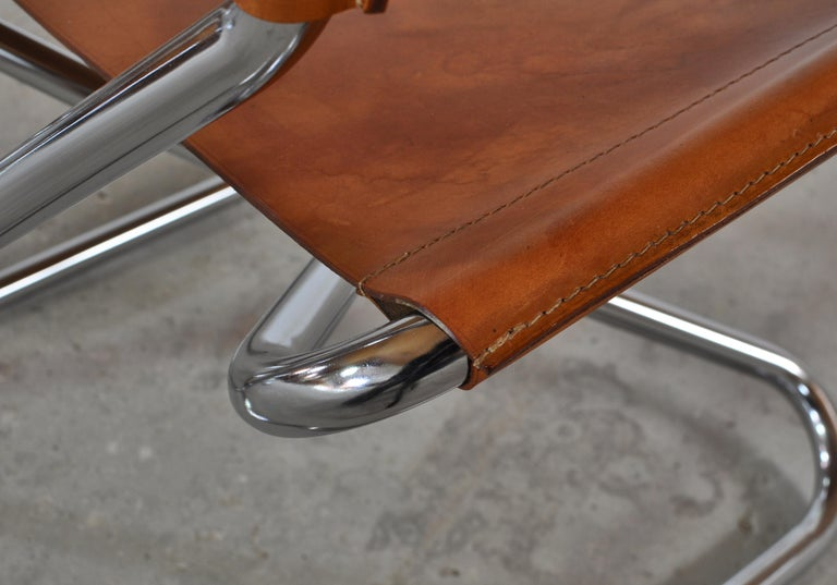Danish Modern Lounge Chairs in Saddle Leather and Steel by Erik Magnussen For Sale 2