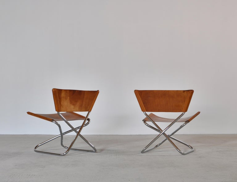 Danish Modern Lounge Chairs in Saddle Leather and Steel by Erik Magnussen For Sale 3