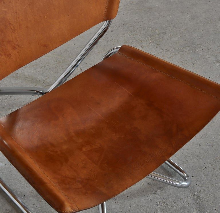Danish Modern Lounge Chairs in Saddle Leather and Steel by Erik Magnussen For Sale 4