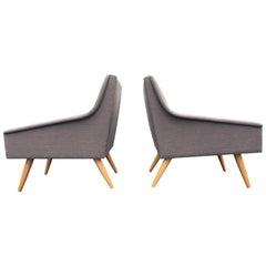 Danish Modern Lounge Chairs, Gray Fabric, Oak Legs
