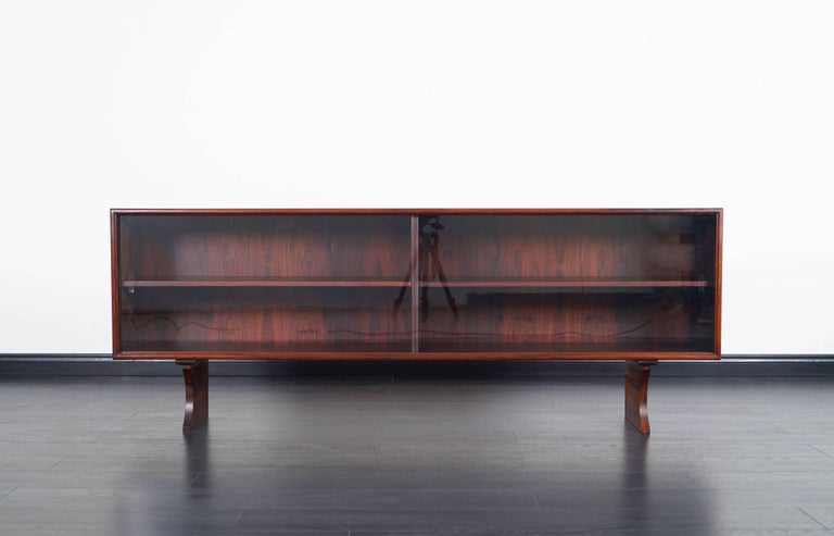 Low Bookcases With Doors: Danish Modern Low Profile Rosewood Bookcase At 1stdibs