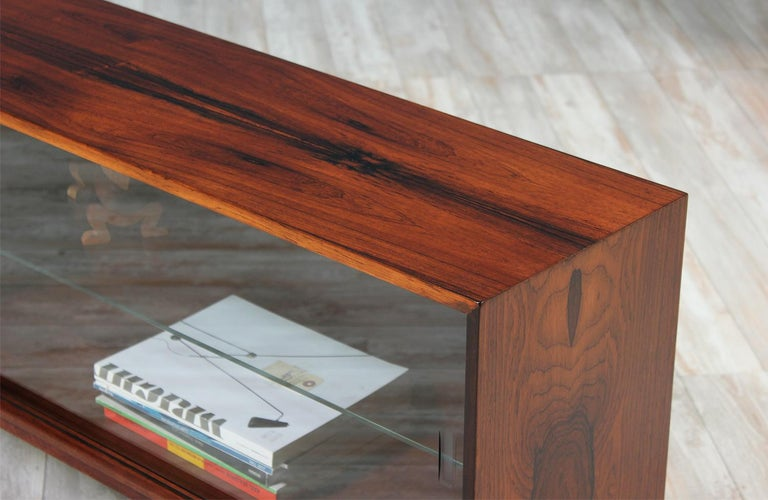 Low Bookcases With Doors: Danish Modern Low-Profile Rosewood Bookcase With Glass